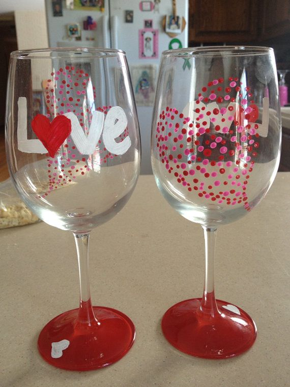 Valentines Day Themed Wine Glasses Glasses Pinterest Painted