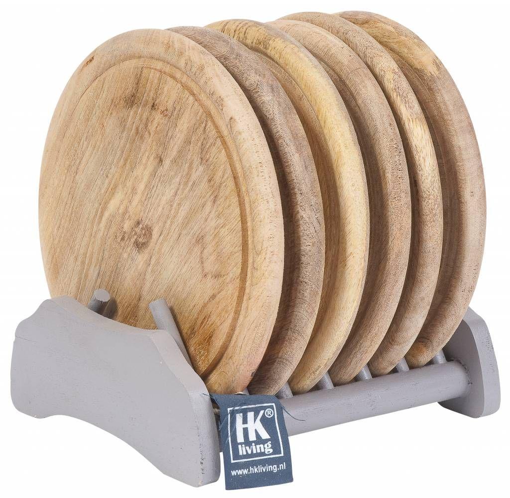 Hk Living Tellerset Regal Mit 6 Teller Aus Holz Grau Naturel O23cm Bordenrekken Houten Borden Hout
