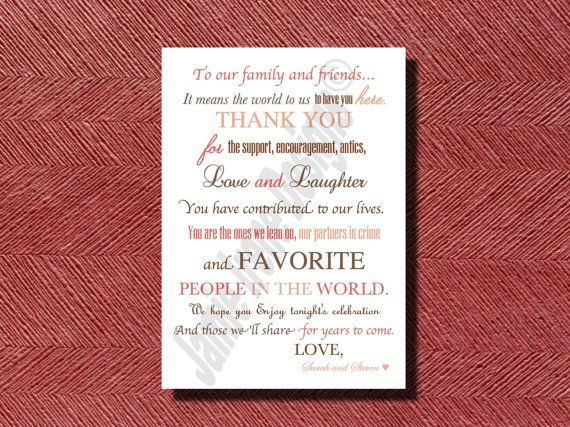 Rustic Wedding Day Thank You Note for Wedding Guests, Thank You Note