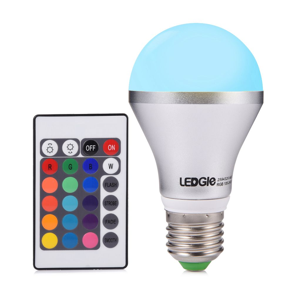 Led Light Bulb A19 Dimmable Ledgle E26 Remote Control Rgb Led
