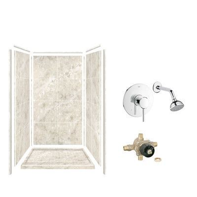 Samson Solid Surface Three Panel Shower Wall Kit Color: Silver ...