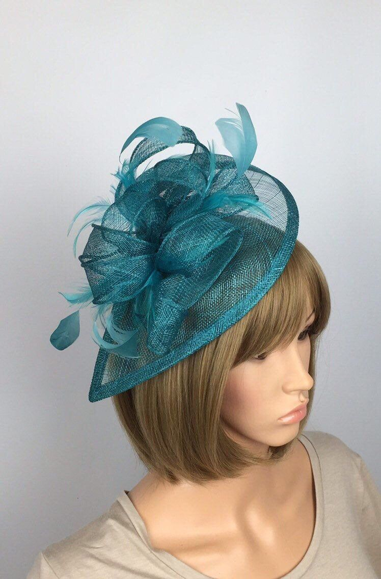 turquoise blue fascinator headband headpiece wedding party race ascot bridal