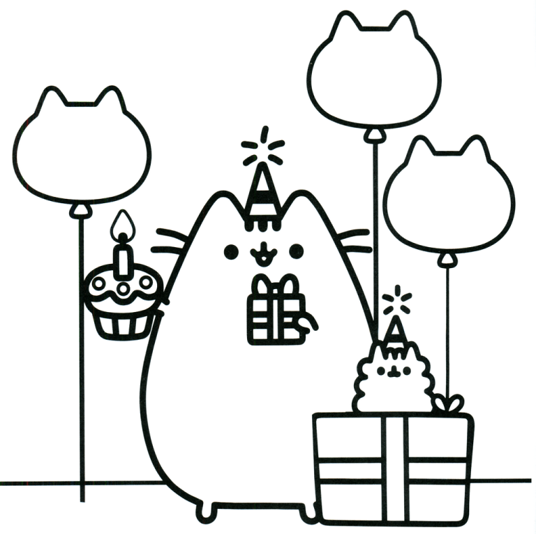 Pusheen Birthday Theme Coloring Sheet Unicorn Coloring Pages Pusheen Coloring Pages Cute Coloring Pages