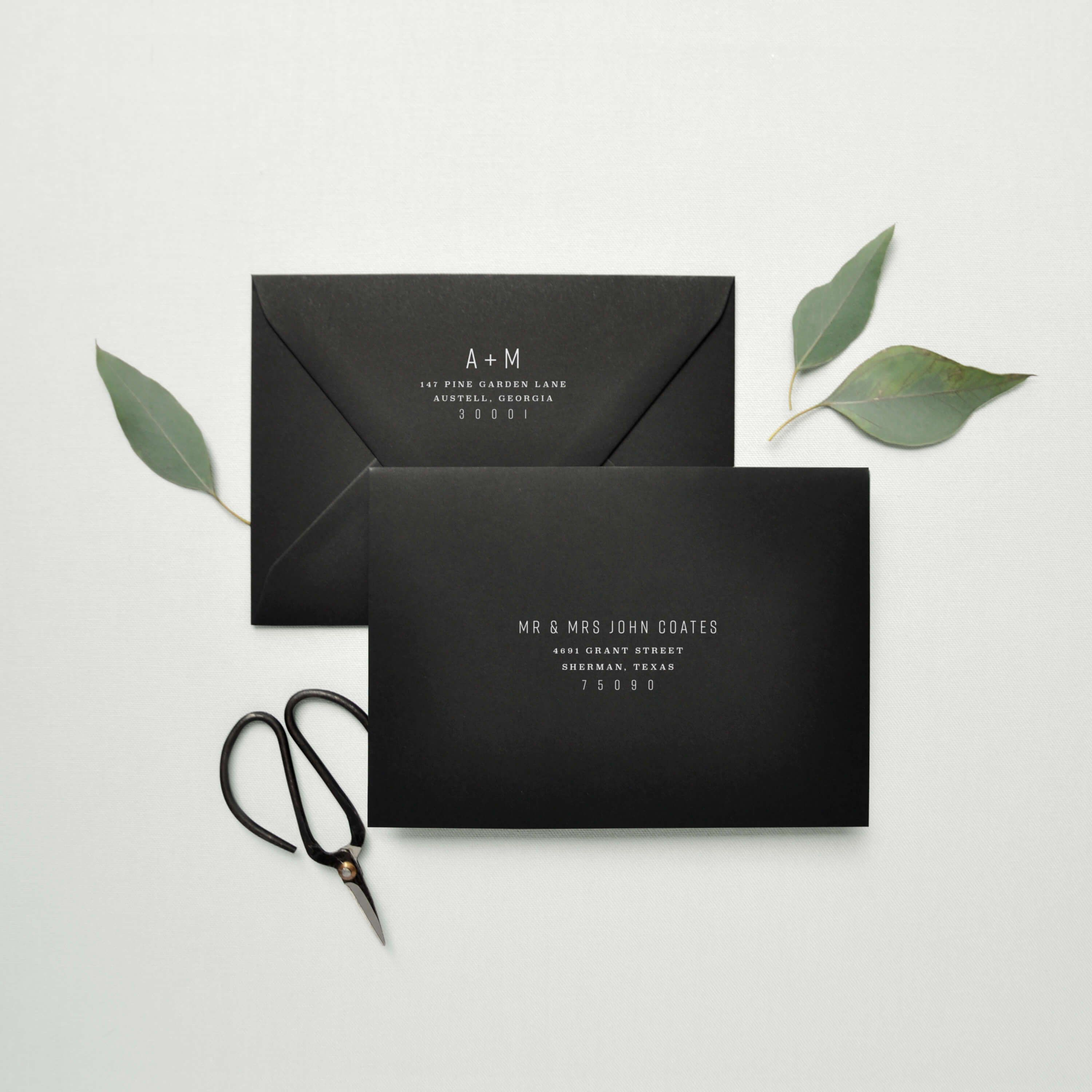 Modern Industrial Guest And Return Address Printing By Paper Hearts Design Co Industrial Wedding Invitations Wedding Envelopes Wedding Invitation Envelopes