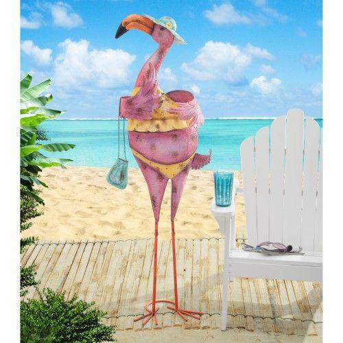 Sunjoy Eccentric Bikini Flamingo With Purse Garden Statue | Jet.com