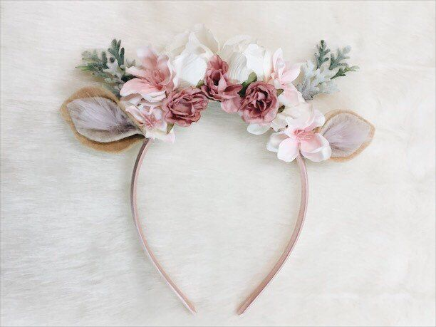 Forest Fawn Floral Crown Headband, photography prop, special occasion, first birthday #crownheadband