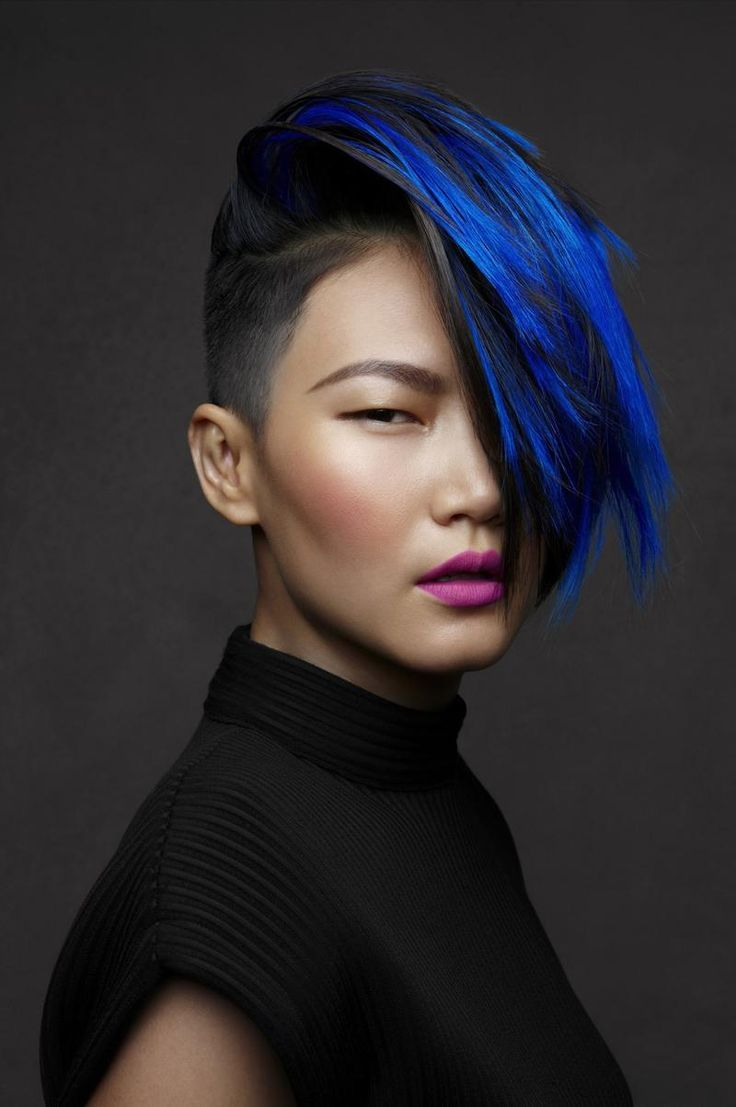 Vibrant blue highlights color makeup styling nails beauty