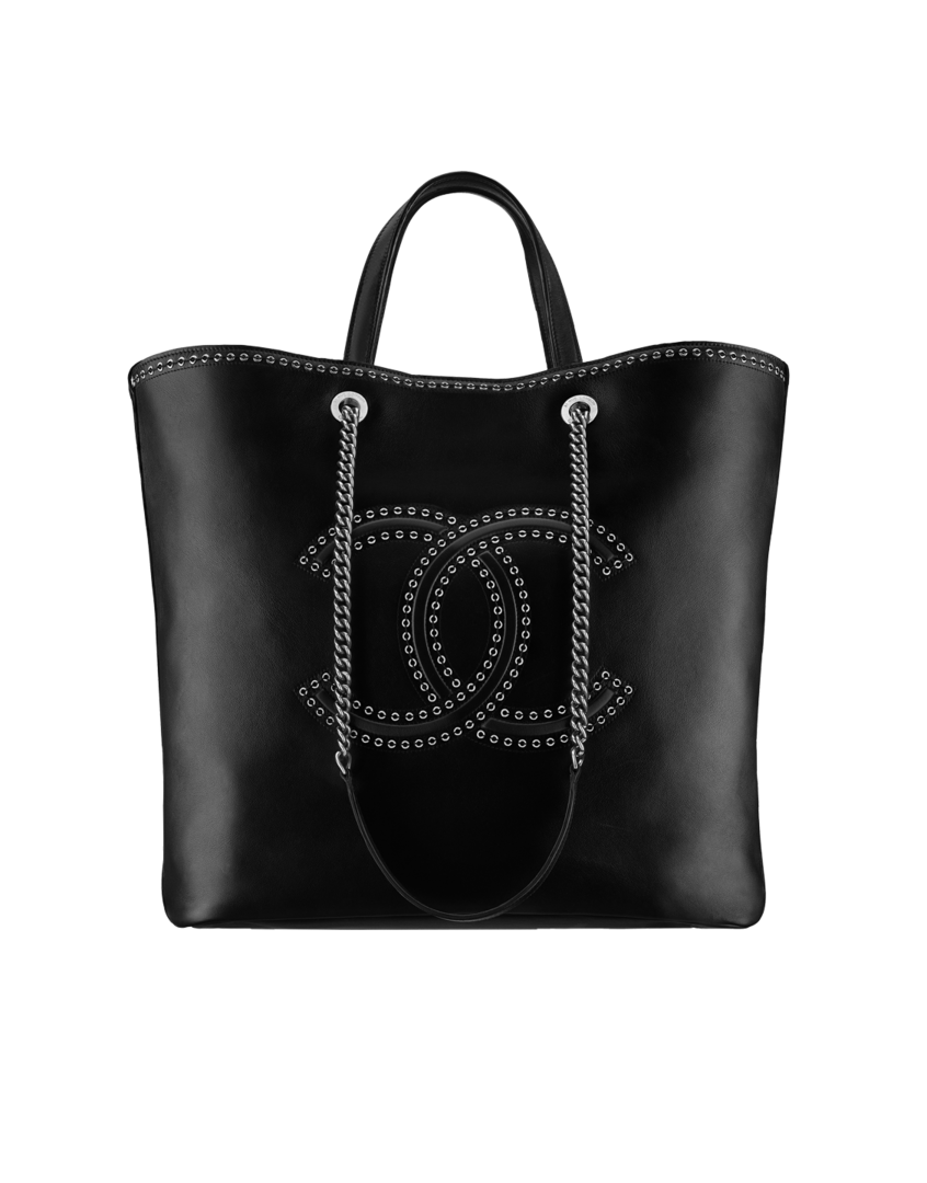 dbc3c8881e8f Large shopping bag, calfskin, eyelets & silver-tone metal-black - CHANEL
