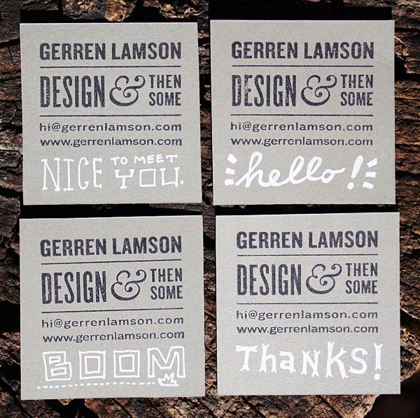 beautiful hand stamped business cards by Gerren Lamson.