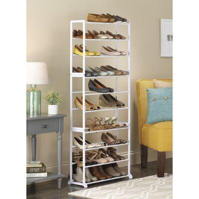 Rebrilliant Floor 10 Tier 30 Pair Shoe Rack In 2020 Shoe Rack Shoe Storage Rack Shoe Storage