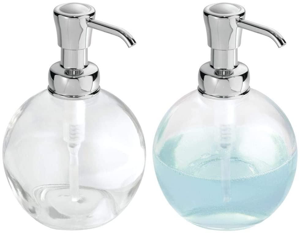 Amazon Com Mdesign Round Glass Refillable Liquid Soap Dispenser