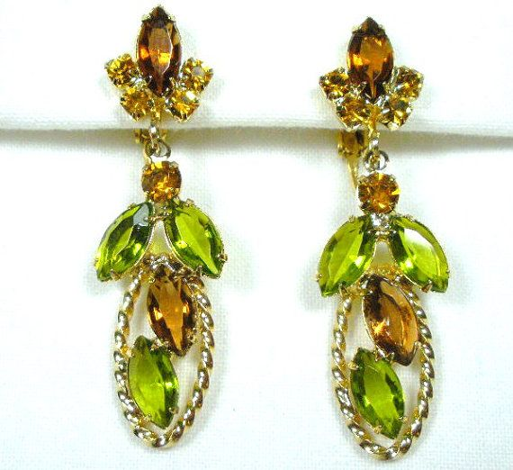Vintage Rhinestone Dangle Earrings Gold Plated by GreenDesertArt, $35.00