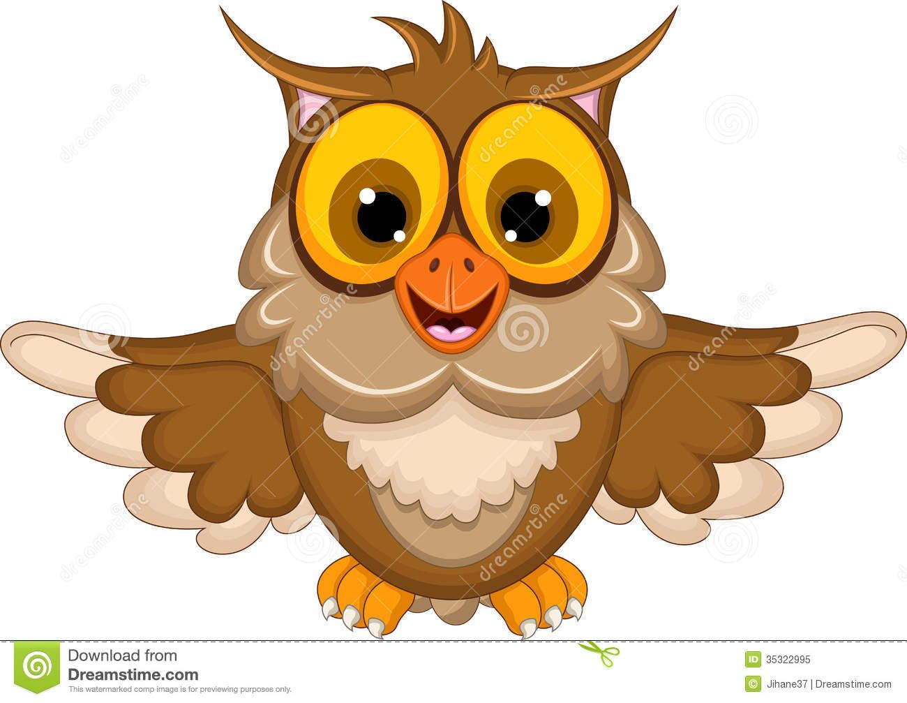 Cute owl cartoon waving illustration 1300 for A cartoon owl