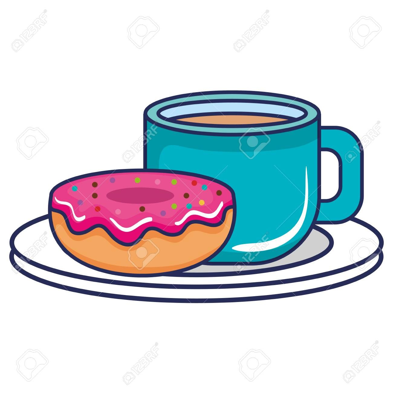 coffee cup with dish and donut vector illustration design Illustration