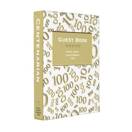 White\/Gold Centenarian Guest Book Template Mini Binder - birthday - guest book template
