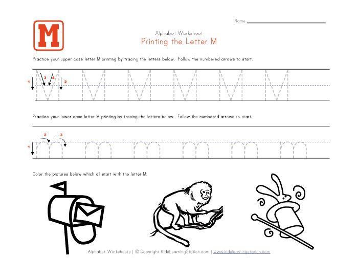 Number Names Worksheets letter m worksheet Free Printable – Letter M Worksheets Kindergarten