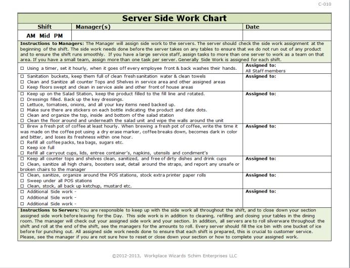 Server Side Work Chart Side Work Restaurant Management