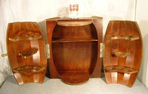 Vtg Wine Barrel Bar Mid Century Rustic Decor Wood Wall