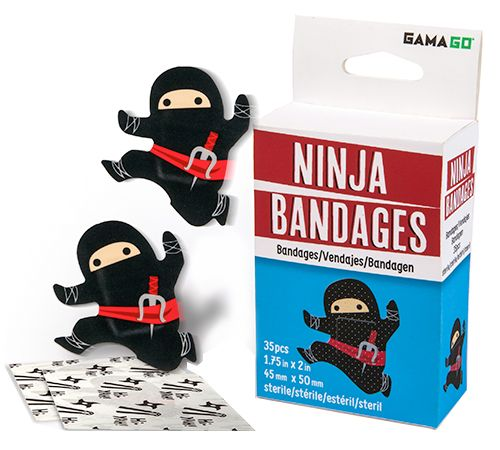 NEW GAMA-GO NINJA BANDAGES YAY, I'M A BIT CONCERNED ON HOW MY BOYS WILL INTERPRET A BOO BOO AFTER THEY SEE THESE BAND AIDS