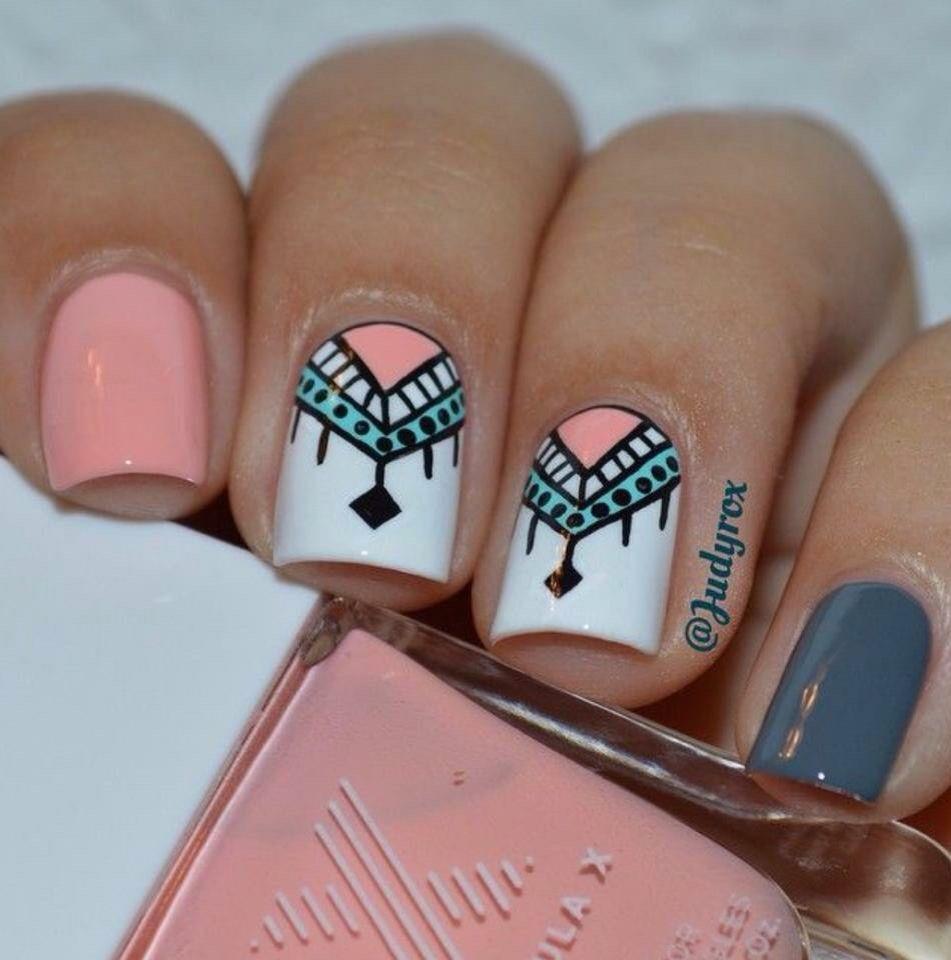 Uñas color melón con diseño | Nail art | Pinterest | Manicure ...