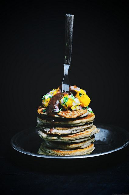 tamarind buckwheat pancakes with acorn squash salsa and date and tamarind chutney | A Brown Table #glutenfree