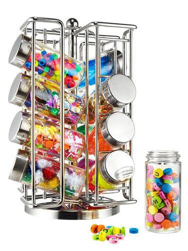 Spice rack for desk organization!  This is really cool when we start doing crafts!