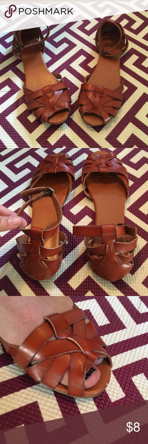 Mossimo sandals Cognac colored faux leather sandals. Worn once, small unnoticeable discoloration shown in last photo Mossimo Supply Co Shoes Sandals