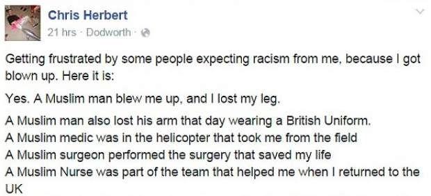 """""""Un musulmán me hizo perder una pierna"""", el alegato pacifista viral de un veterano de guerra"""