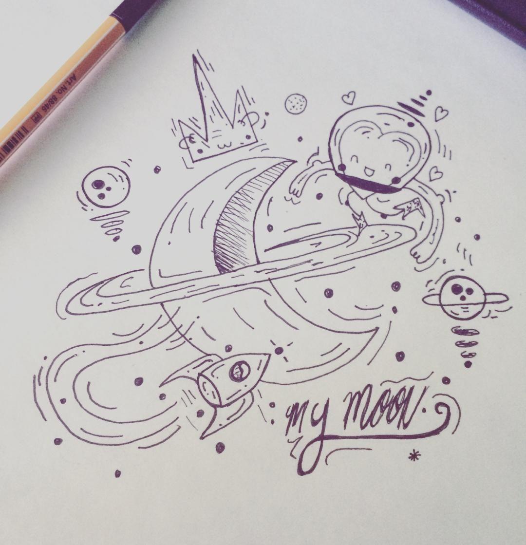 Provocative-planet-pics-please.tumblr.com My Universe #moon #doodle #sketch #illustration # ...
