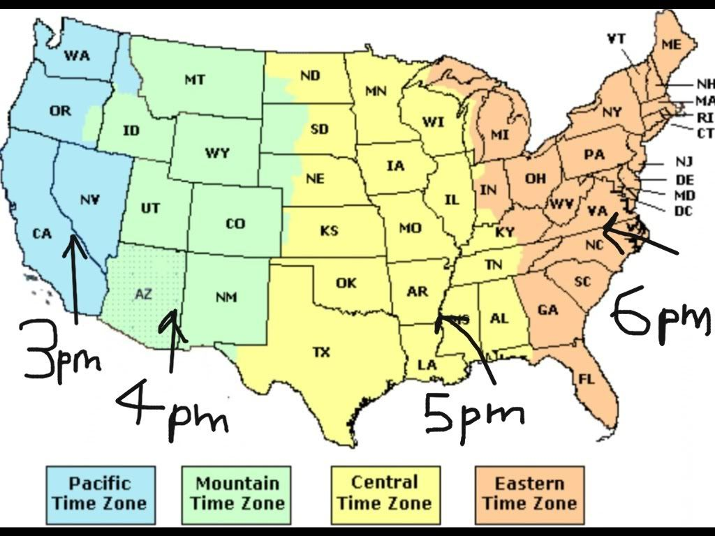 Map Of Us Time Zones With The State Names - Map us time zones states