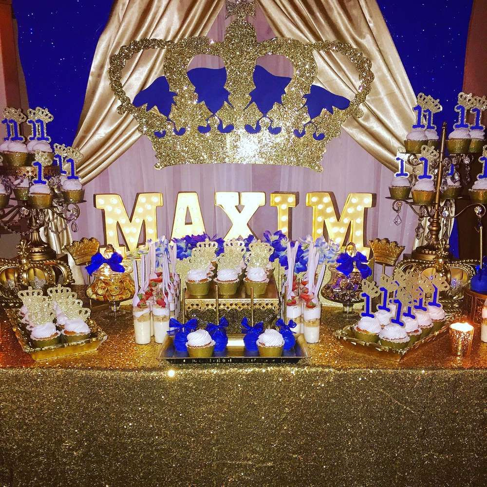 Blue And Gold Royal Prince Birthday Party! See More Party