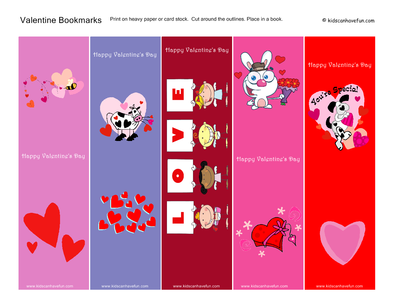valentine bookmarks to color : Make Your Own Valentines Cards Kids Valentines Day Printables
