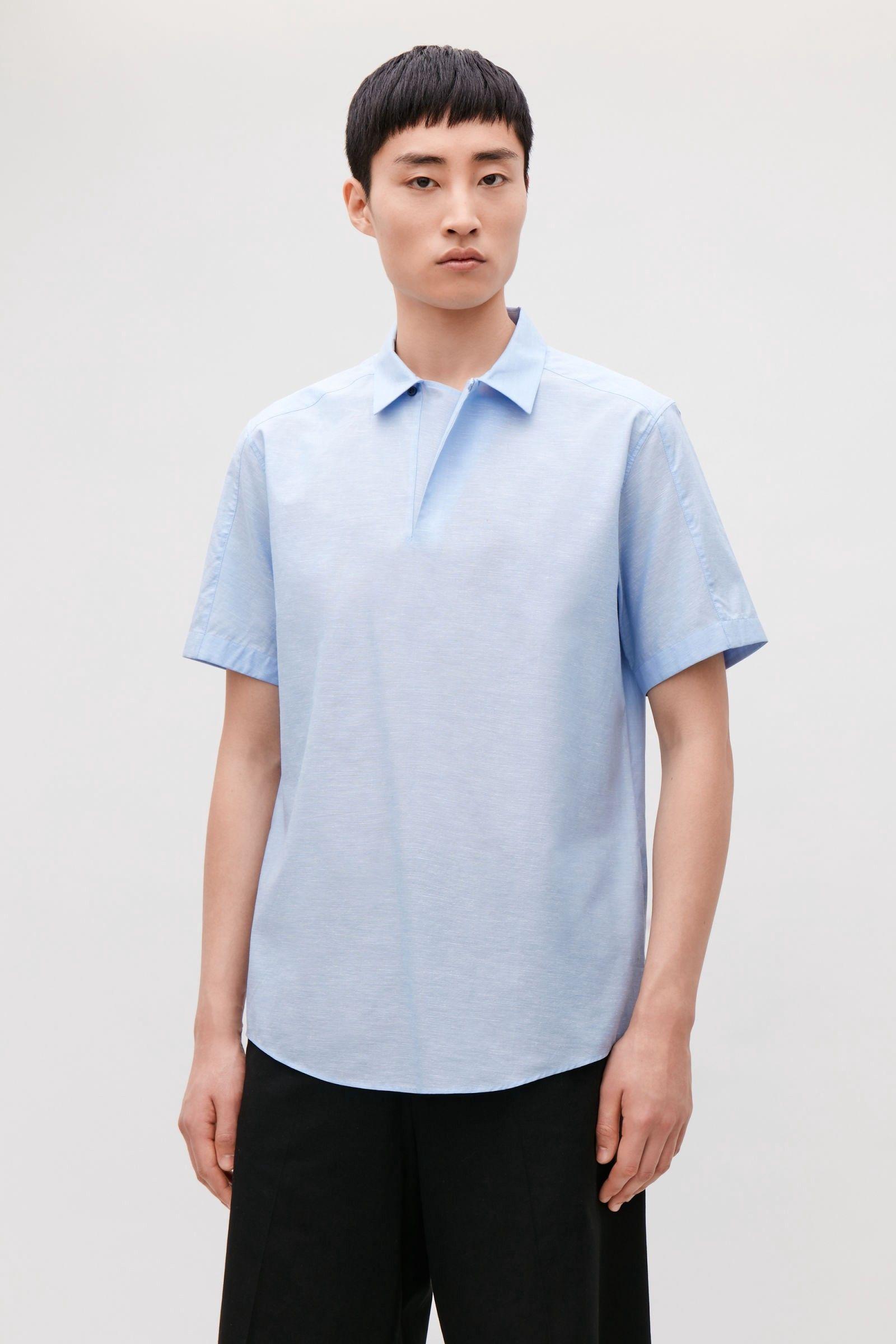 Cos shortsleeved melange shirt light blue s products