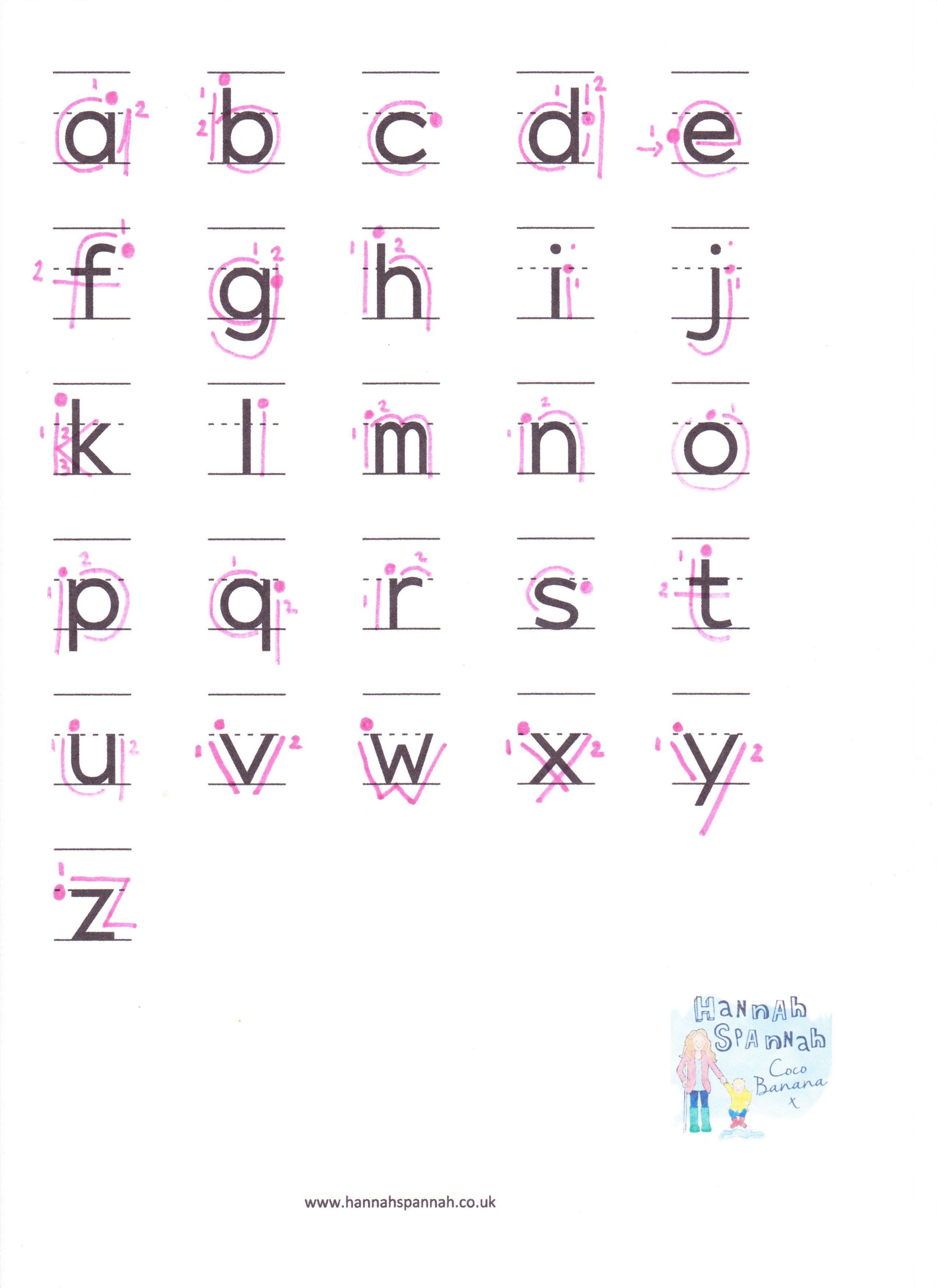 Alphabet Writing Sheet lowercase - Hannah Spannah  Alphabet
