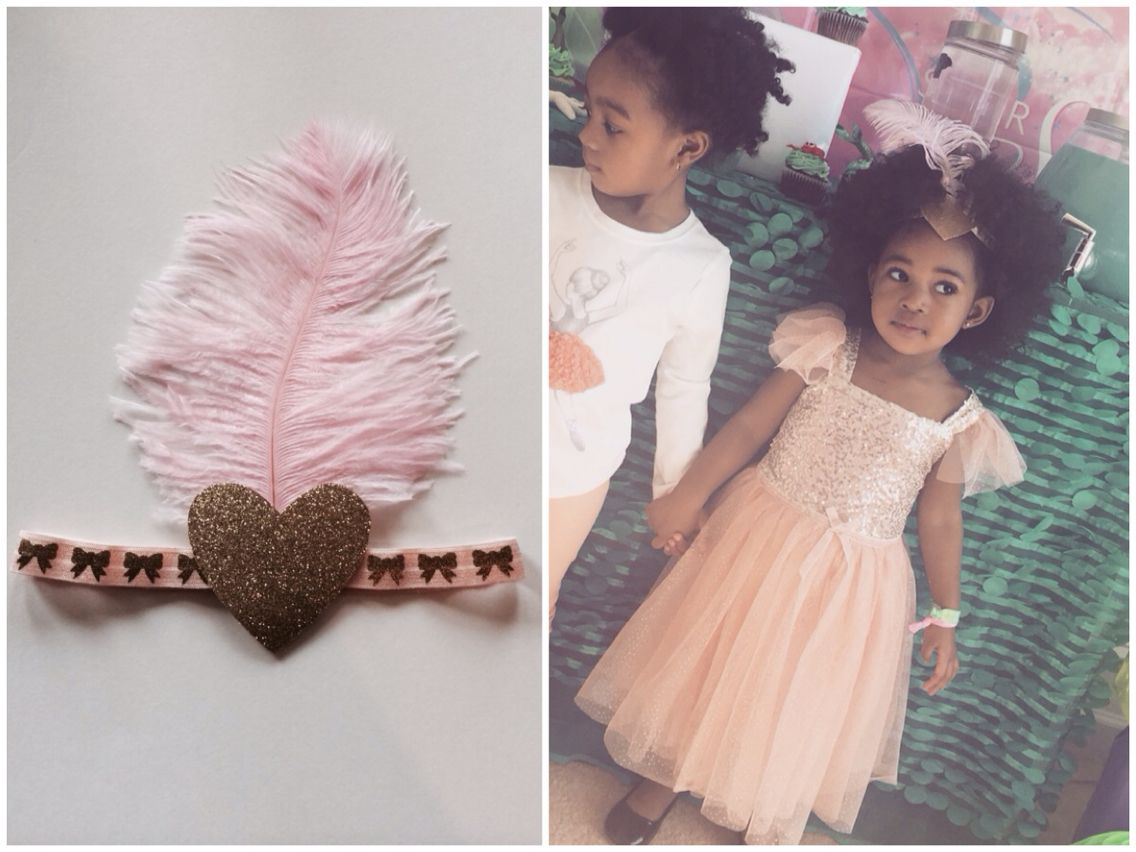 Dying on all this style from our MC Dolly @aaliyah_dior ! Look at her outfit for her Little Mermaid Bday Party! Love love that she chose our hairpiece for her special day! Pick up our pink or white heart feathered headband for Valentine's Day or that special occasion today at www.modernechild.com . Free Shipping! #happybday #bdaygirl #mcdolly #fashion #bdaypartyootd #ootd #featheredheartband #valentinesoutfit  #kidsclothes #kidsfashion #fashionkids #trendykids #trendsetter #fashion
