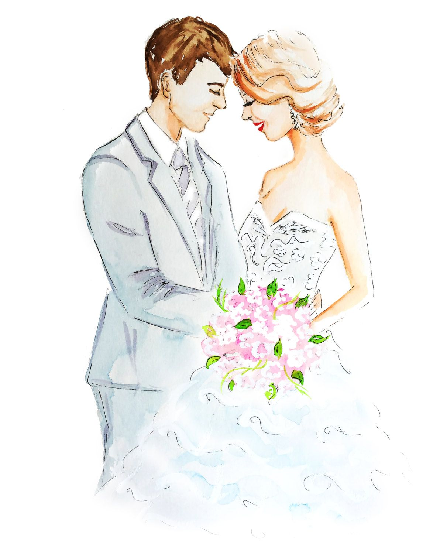 Wedding Drawings: Personnalisé Portrait De Mariage Vous Invite Couple Par