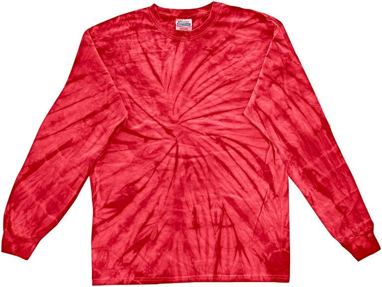 tie dye youth tie-dyed long-sleeve tee - red spider (xs)