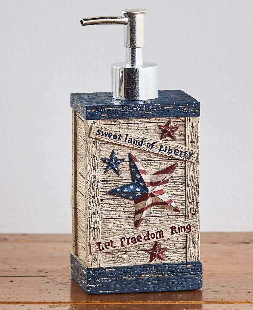 Patriotic bathroom decor - Patriotic Americana Bathroom Collection Rustic Country Primitive Accessories