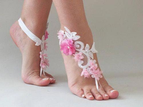 0b773cdf83ca Ivory blue lace barefoot sandals Beach wedding barefoot sandals   sandalswedding