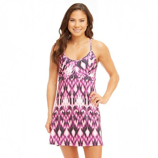 Women's Balance Collection Ikat Racerback Fitness Dress ($60) ❤ liked on  Polyvore featuring purple