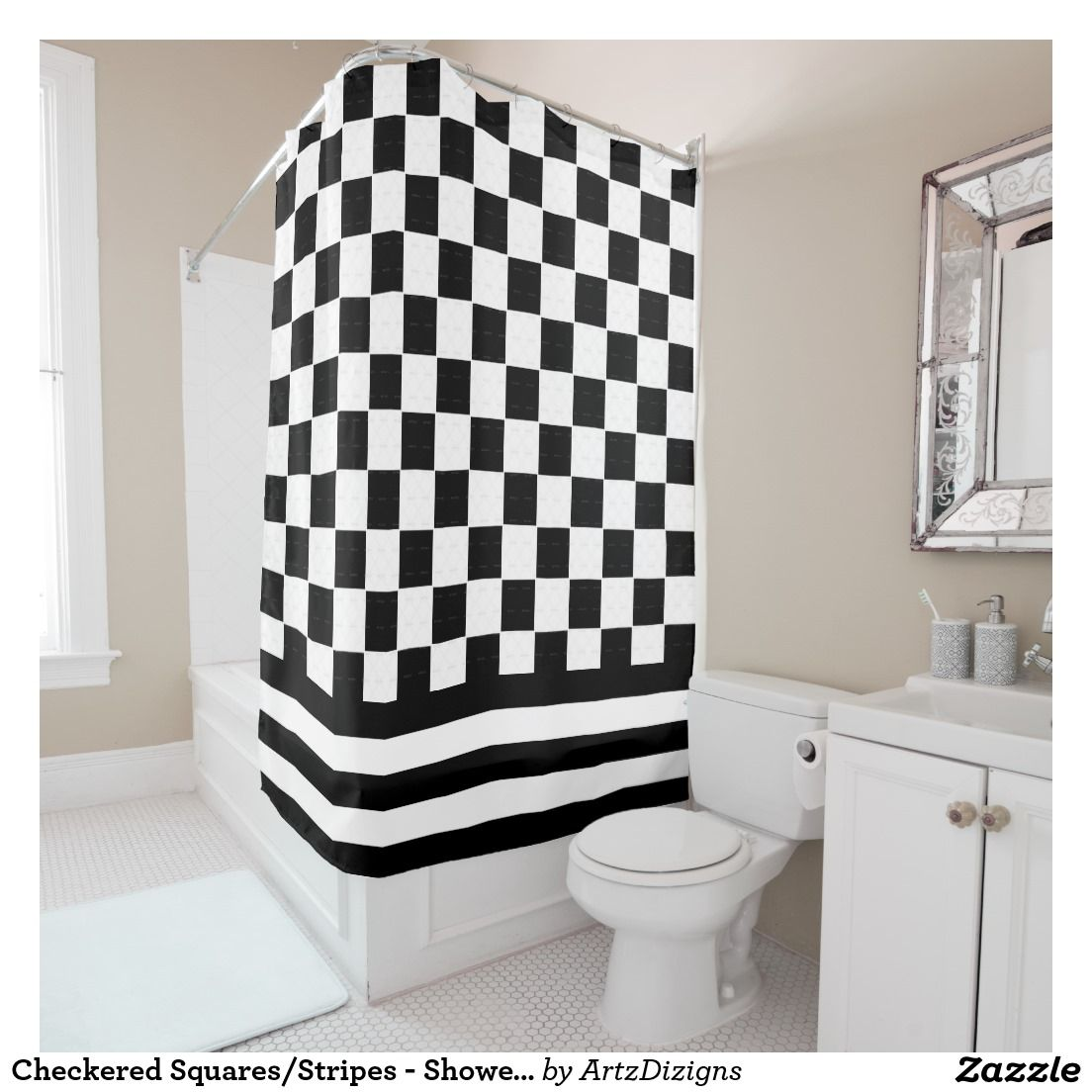 Checkered Squares/Stripes - Shower Curtain