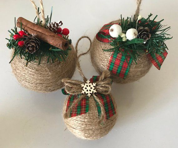 Set Of 6 Twine Christmas Tree Ornaments For Rustic Country Home
