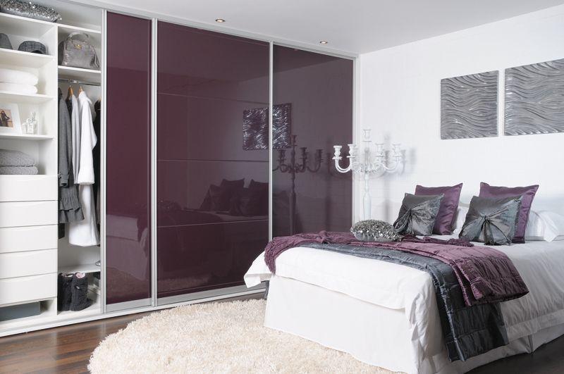 sale retailer 37c99 e1dd0 Sliderobes fitted wardrobe high gloss aubergine | Bedroom ...