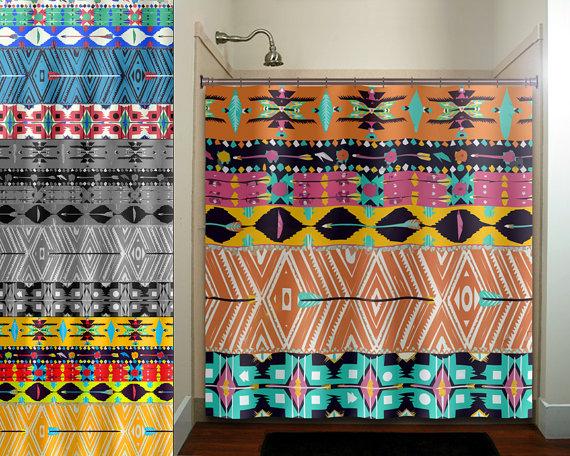 Native Tribal Aztec American Southwestern Shower Curtain Extra Etsy Southwestern Shower Curtains Fabric Decor