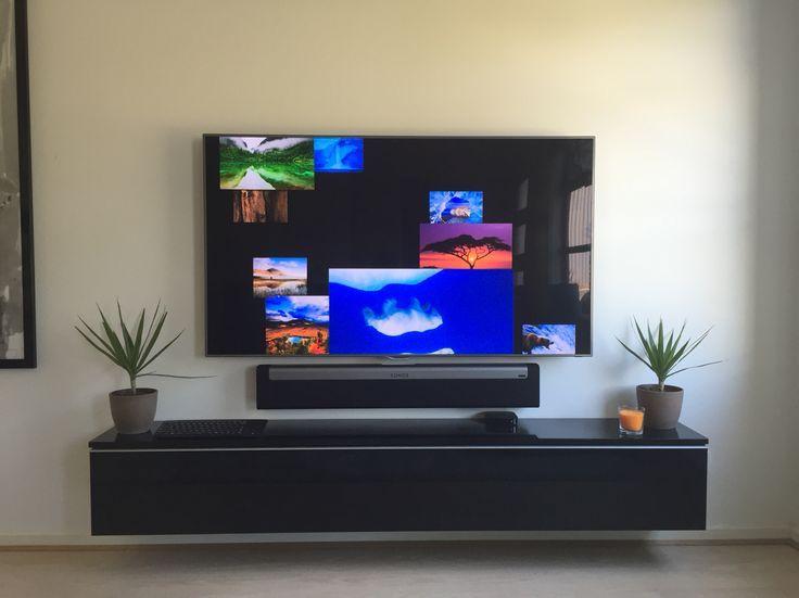 wall mounted tv. sonos sound-bar.   ideas for house   pinterest