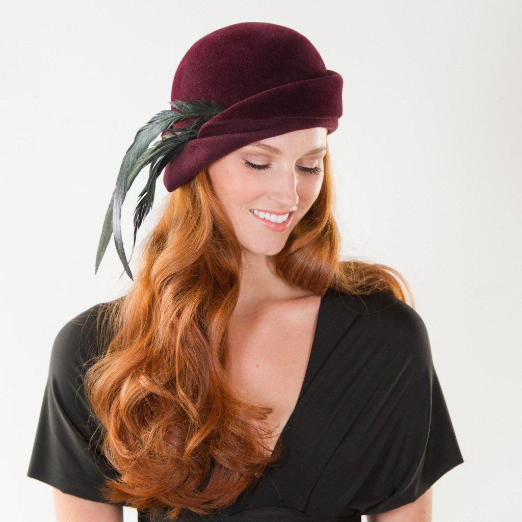 Fall Hat- Style 1- FUR VELOUR Boho Feather Cloche.