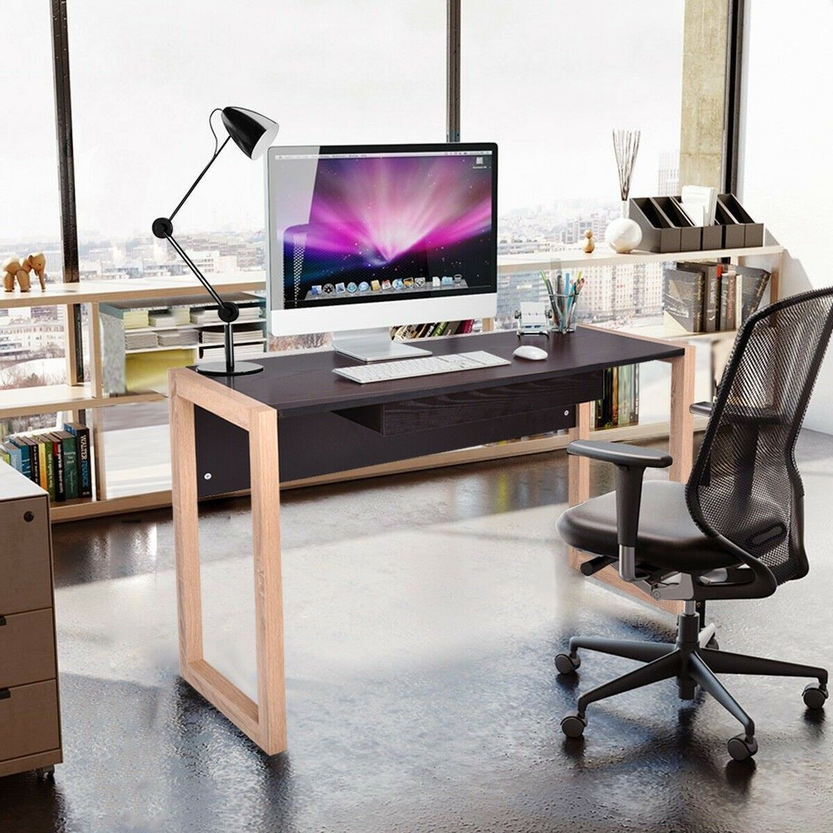 Computer Desk Pc Laptop Table Wood Writing Workstation With Drawer