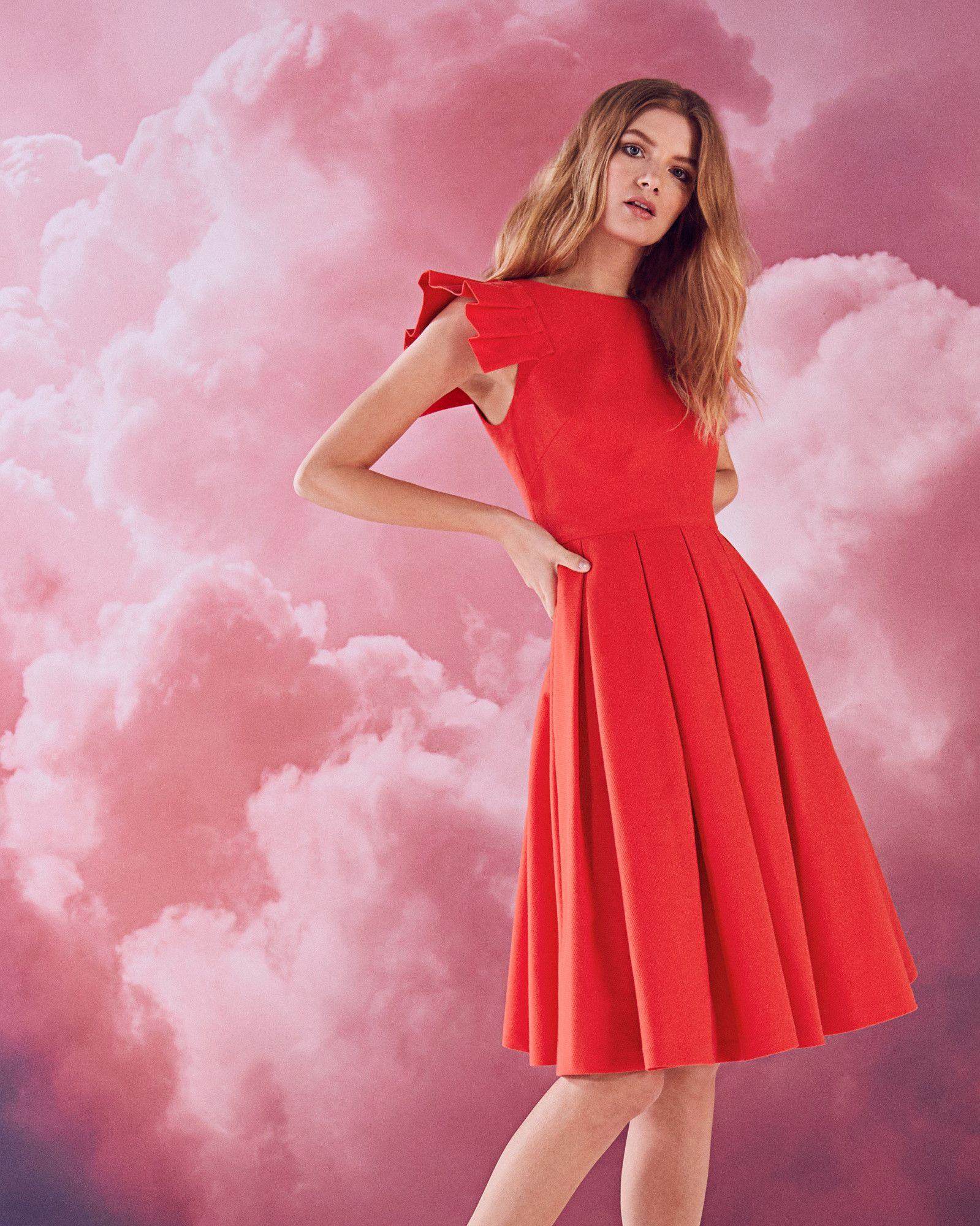 Ted Baker - Arieal dress has knife pleated skirt, crew neck, knife ...