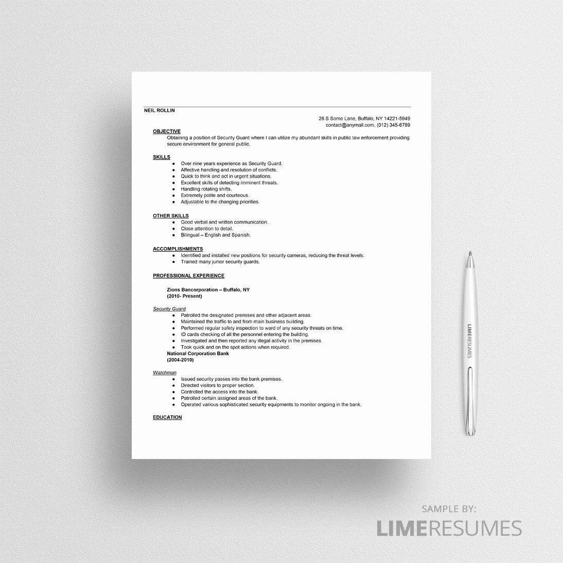 Security guard resume example new security guard resume