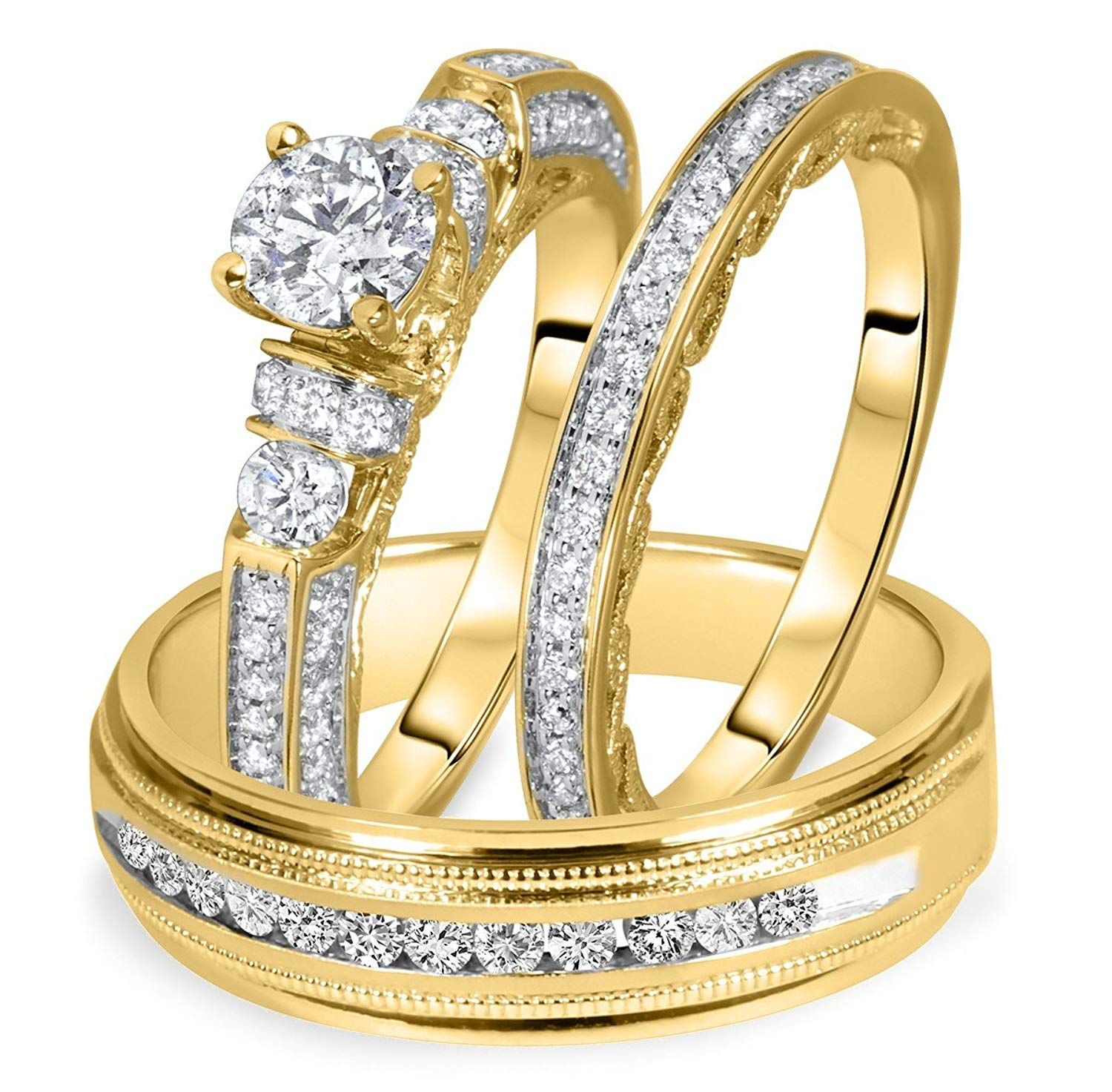 6707901ff4 Silvercz Jewels 1 1/2 Carat T.W. Round Diamond Matching Trio Wedding Ring  Set 14K Yellow Gold Over *** We do hope that you actually love our image.